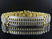 Mens 10k Yellow Gold 17mm Railroad Style Real Diamond Bracelet 10.35 Ct Inch