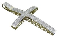 Mens 10k Yellow Gold Iced Out Dome Genuine Diamond Cross Pendant 1.50ct In