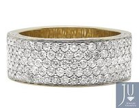 Mens 10k Yellow Gold Pave Vs2 Diamond Engagement 3d Pinky Ring Band 3.50ct