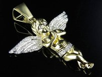 Mens 10k Yellow Gold Praying Angel Genuine Diamond Pendant Charm 0.88ct 1.8