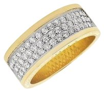 Mens 10k Yellow Gold Row Genuine Diamond Wedding Engagement Ring Band 1.3ct