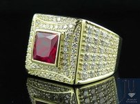 Other Mens 10k Yellow Gold Ruby Gemstone Simulated Lab Diamond Fashion Pinky Ring