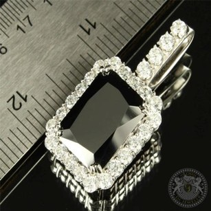 Other Mens 14k Gold Finish Over Silver Pendant Black Onyx Princess Cut Rick Ross Charm