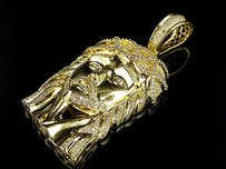 Mens 14k Yellow Gold Genuine Diamonds Jesus Face Pendant Charm 2.0ct Inch