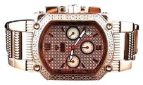 Other Mens Aqua Master Rose Gold Finish Rectangular Diamond Watch 45mm W323 0.45 Ct
