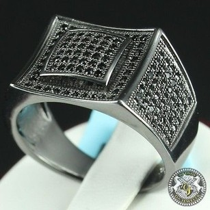 Mens Carat Look Round Cut Accents Lab Diamond 18k Black Gold On Silver Ring