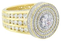 Mens Cluster Set Ring Round 14k Gold Over Sterling Silver Lab Diamond Hip Hop