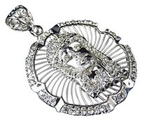 Other Mens Custom Simulated Diamond 10k White Gold Jesus Piece Pendant Charm 1.75