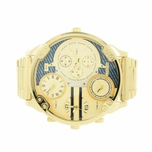 Mens Gold Tone Watch Analog Timezone Jumbo Face 63mm Metal Band Custom Watch