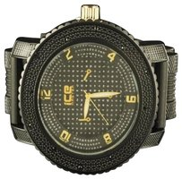 Mens Golden Black Tone Ice Master Diamond Illusion Bullet Band Jojino Watch