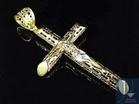 Mens Hollow 10k Yellow Gold Diamond Cutout Detailed Crucifix Cross Pendant 2.5