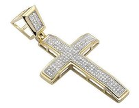 Mens Ladies 10k Yellow Gold Pave Set Diamond Cross Charm Pendant 2 .80ct