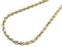 Mens Ladies 110th 10k Yellow Gold Mm Hollow Rope Chain 18-30 Inch Necklace