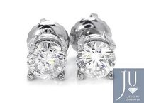 Mens Ladies 14k White Gold Round Cut Mm Solitaire Diamond Stud Earrings 1 Ct