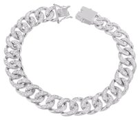 Mens Miami Cuban Bracelet Simulated Diamonds Micro Pave Round Cut Inch