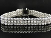 Mens Row Toni 10k White Gold Genuine Diamond Bracelet Bangle Ct
