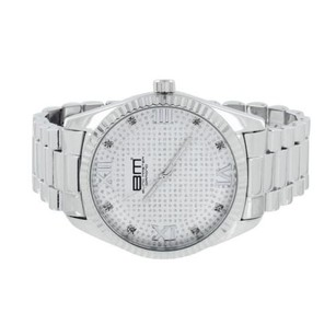 Mens Silver Tone Watch Fluted Bezel Presidential Link Band Water Resistant