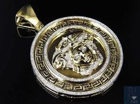 Mens Solid 10k Yellow Gold Medusa Diamond Pendant Charm Medallion 2.0 1.0 Ct