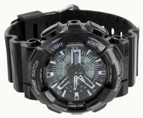 Mens Sports Watches Black Shock Resistant Water Resist Stainless Steel Back Sale