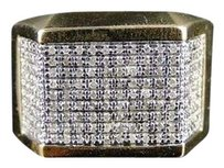 Mens Yellow Gold Finish Genuine Diamond Pave Pinky Fashion Band Ring 1.0 Ct