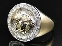 Mens Yellow Gold Finish Round Cut Diamond Pave Medusa Head Designer Ring .75