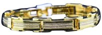 Mens,Yellow,Stainless,Steel,1.75,Ct.,Round,White,Diamond,Bangle,Link,Bracelet