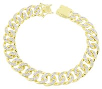 Other Miami Cuban Mens Bracelet 14k Yellow Gold Finish Simulated Stones
