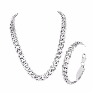 Miami Cuban Necklace Bracelet Combo White Gold Finish Chain Stainless Steel