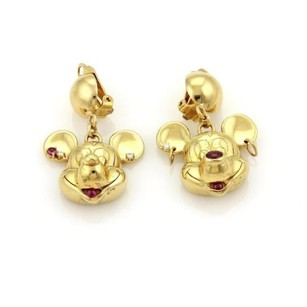 Mickey Mouse Dangle Earrings With Diamonds Rubies In 18k Yellow Gold