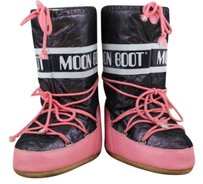 Other Moon Womens Metallic Lace Up Pink Black Boots
