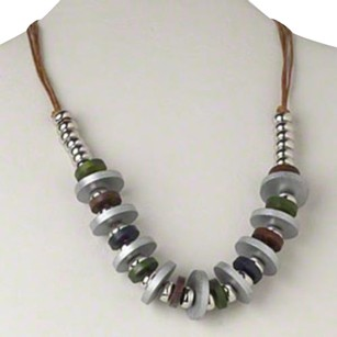 Mid Century Style Silver Brown Multi Wood Disc Statement Necklace