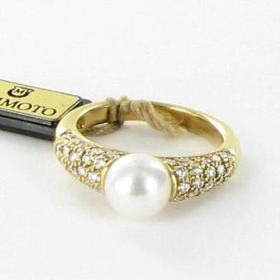 Mikimoto Ring 6.25 Classic Elegance 7mm Pearl 0.57ct Diamond 18k Yg