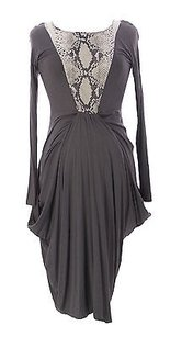 Mothers En Vogue Maternity Womens Grey Snake Print Drape Dress Aw2014