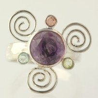 Multi-gemstone Swirl Ring - Sterling Silver Chunky Cocktail Womens