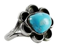 Native American Sterling Turquoise Ring Size 6.5