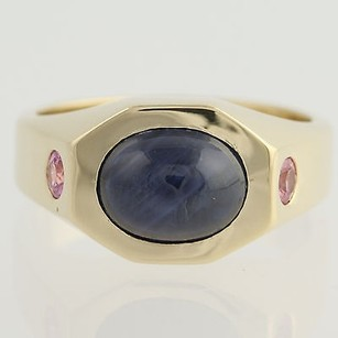 Other Natural Star Sapphire Pink Sapphire Ring - 14k Yellow Gold Genuine 4.11ctw