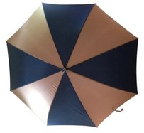 Other Navy and Tan Umbrella with decorative curved handle