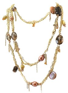 Necklace 36 Gold-plated Silver With Smoky Topazes And Mother Of Pearl