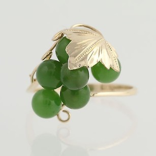 Nephrite Jade Cluster Ring - 18k Yellow Gold Grape Bunch Leaf Womens Vintage