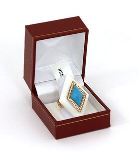 Never Worn 18k Yellow Gold Diamonds Turquoise White Onyx Dress Ring