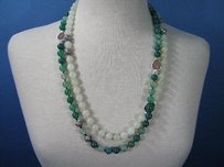 Nina Nguyen 10mm Serpentine Green Agate Bead Necklace Druzy 925 56