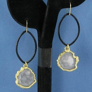 Nina Nguyen Audrey Earrings Gray Geode Drops Sterling Silver 22k Yg