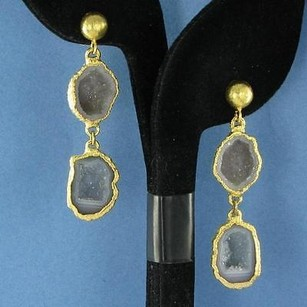 Other Nina Nguyen Infinity Earrings Grey Geode Drops 925 Silver 22k Yg