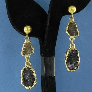 Nina Nguyen Stella Earrings Brown Black Druzy Drops 925 Silver 22k Yg