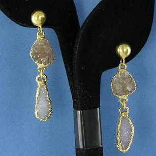 Other Nina Nguyen Stella Earrings White Sand Druzy Drops 925 Silver 22k Yg