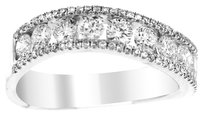 NWT 18K WHITE GOLD 1.25CT DIAMOND EMBELLISHED CURVED BAND
