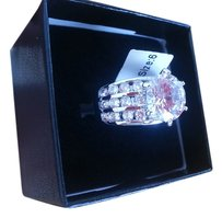 NWT 7.5 carats simulated diamond engagement white gold plated ring.