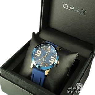 Omax Stainless Steel Watch Chrome Look Deep Blue Silicon Band Custom Supreme