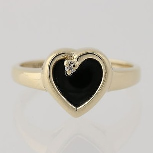 Onyx Diamond Heart Ring 10k Yellow Gold Polished Love Natural Stones