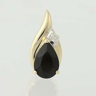 Onyx Diamond Pendant - 14k Yellow Gold Teardrop Solitaire Womens